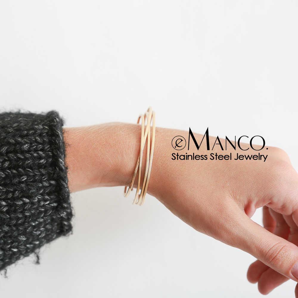 EManco Многослойные браслеты из нержавеющей стали для женщин, Трендовое Манжетное кольцо, браслет, дизайнерский бренд, роскошные женские ювелирные изделия