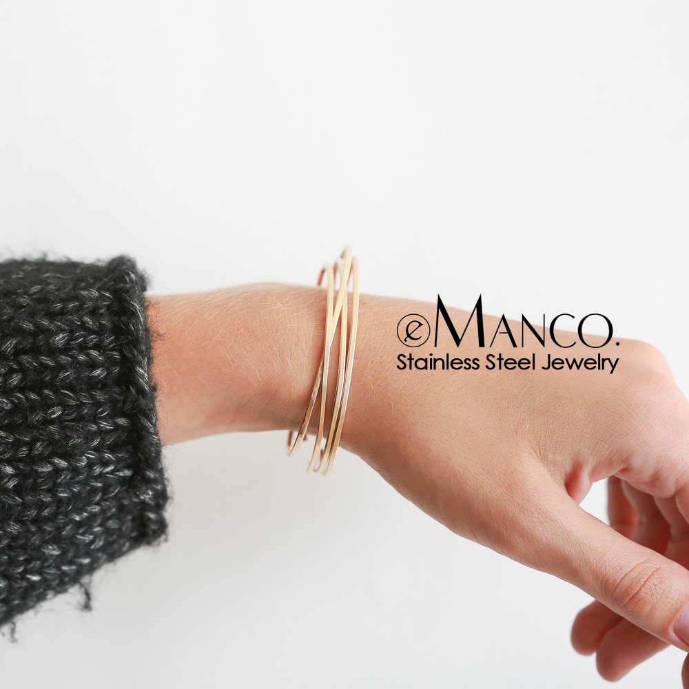 eManco Multilayers stainless steel bangles for women Trendy cuff ring bangle bracelet designer brand luxury women jewelry