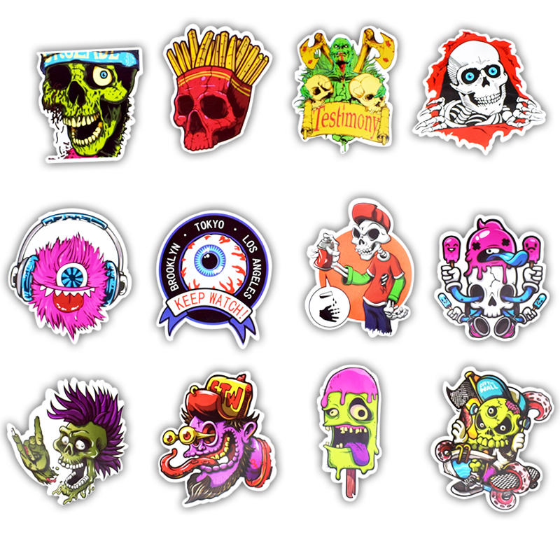 Image 3 - 50Pcs Vinyl Computer Stickers Spoof Horror Personality Laptop Skin Sticker Refrigerator Suitcase Mixed Decal for Macbook Air Pro-in Laptop Skins from Computer & Office