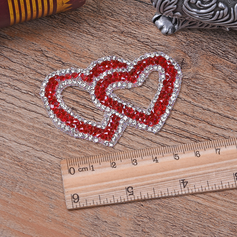 Double Heart Exquisite Rhinestone Stickers Heat Transfers For Clothes DIY Embroidery Applique For T-shirt Clothing Decor (11)