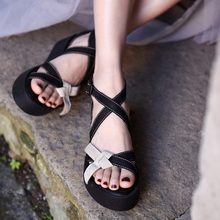 Artmu Original Butterfly-knot Thick Sole Women's Sandals Summer New Platform Genuine Leather Handmade Retro Buckle Shoes 16552 unique cool graffiti remote control car professional 2 4g high speed climbing 1 8 big wheels monster rc racing car truck wltoys