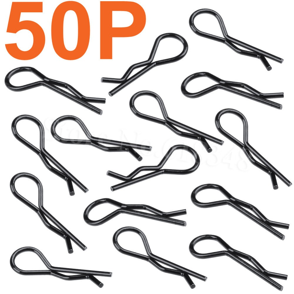 50-Pack Universal RC Car BodyShell Clips For 1/10th Scale Body Pins Bent End Replacement Parts Sliver Black
