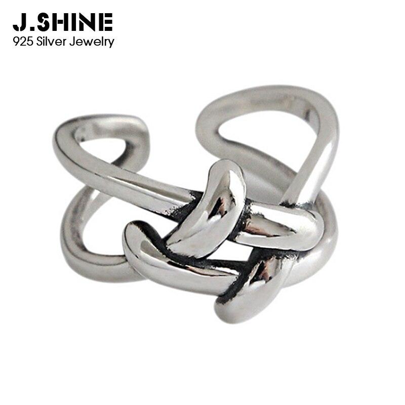 JShine Antique 100% 925 Sterling Silver Rings for Women Vintage Weaving Finger Open Cuff Ring Fine Jewelry