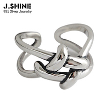 JShine Antique 100% 925 Sterling Silver Rings for Women Vintage Weaving Finger Open Cuff Ring Fine Jewelry