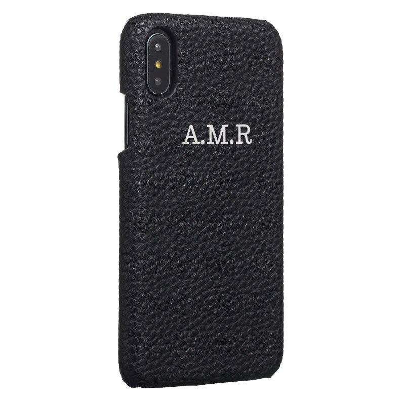 Personalização personalizado seixo grão couro ouro prata nome inicial para o iphone 11 pro x xr xs max 6 s 7 mais 8 8 mais caso de telefone