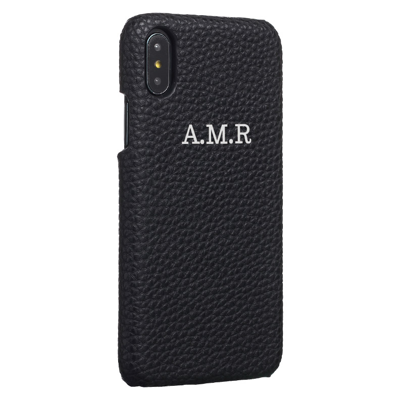 Personalization Custom Pebble Grain <font><b>Leather</b></font> Gold Silver Initial Name For <font><b>iPhone</b></font> 11 Pro X XR XS Max 6S 7 7Plus 8 8Plus Phone <font><b>Case</b></font> image