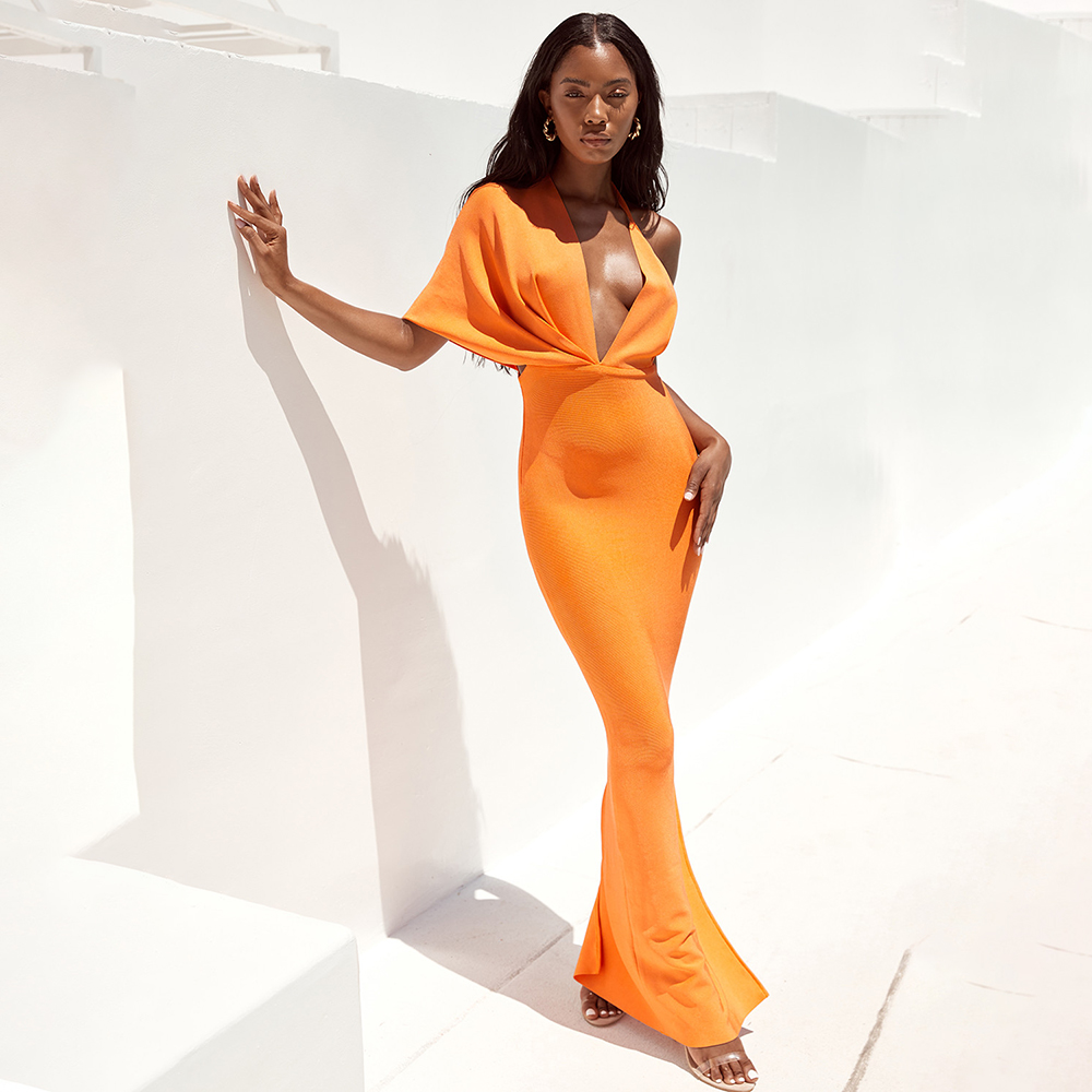 2019 New Deep V Neck Halter Backless Orange Best Quality Summer Sexy Women Drapped Hl Bodycon Long Bandage Dresses