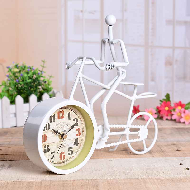 rustic metal bicycle desk clock bike clock home decoration table clock ornament charm antique style ideal for giftin desk u0026 table clocks from home u0026 garden