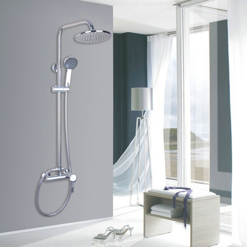Water Chrome Polished Waterfall Bathroom Shower Sets Faucet Single Handle Mixer Tap Hand Spray Sprinkler Rainfall Wall Mounted polished chrome double cross handles wall mounted bathroom clawfoot bathtub tub faucet mixer tap w hand shower atf902