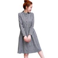Women Autumn Elegant Plaid Long T Shirt Dress Women Fashion Long Sleeve Cotton And Linen Big
