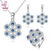 ZHE FAN Fashion Red Green Blue Flower Jewelry Sets Women AAA Cubic Zirconia Luxury Necklace Earring Ring Chain Jewellery Set