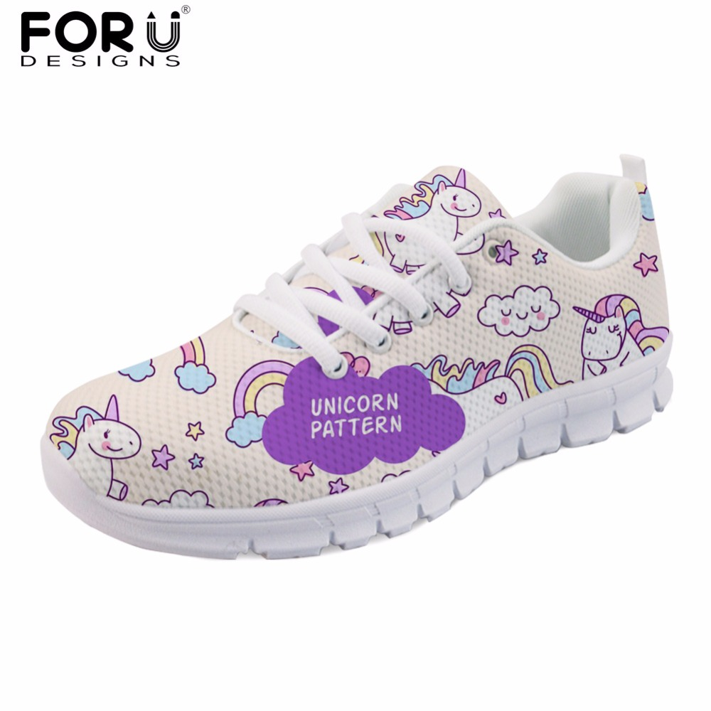 FORUDESIGNS Horse Pattern Women Flats Shoes Cute Women's Casual Comfortable Mesh Shoes Light Weight Female Leisure Shoes Woman forudesigns spring summer casual women sneakers cute happy chef pattern flats shoes woman fashion cartoon mesh shoes women flat