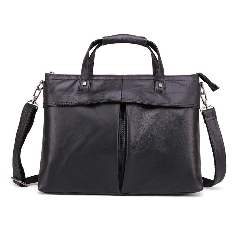Nesitu Vintage Black Brown Genuine Leather 14'' Laptop Office Men Briefcase Portfolio Business Shoulder Messenger bag M6436