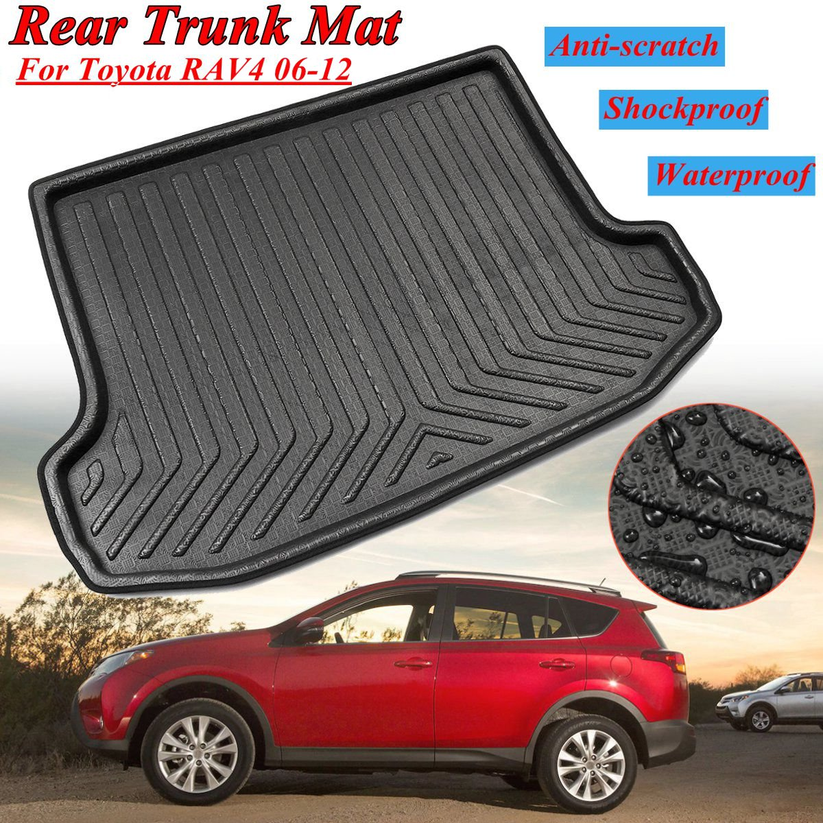 for Toyota RAV4 2006 2007 2008 2009 2010 2011 2012 High Quality Floor Mats Rear Trunk Cargo Mat Floor Tray Boot Liner Waterproof auto floor mats for honda cr v crv 2007 2011 foot carpets step mat high quality brand new embroidery leather mats
