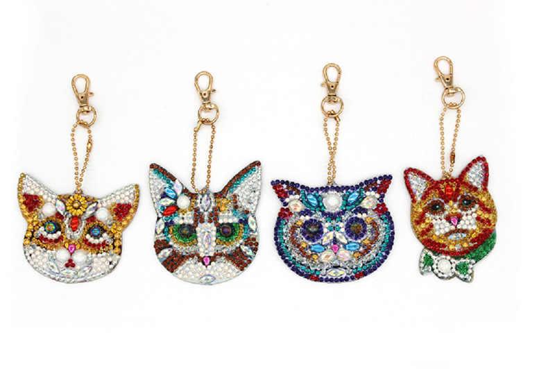 Meian 2019 diy especial em forma de broca cheia pintura diamante gato chaveiro bordado com strass saco pendurado pingente nova decoração