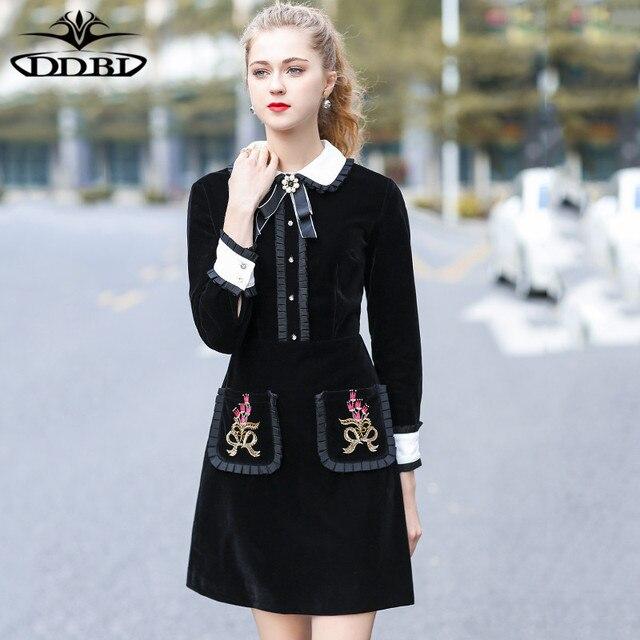 Petal Pan Collar Black Dress Cute Palace Cute Girl Dresses Preppy