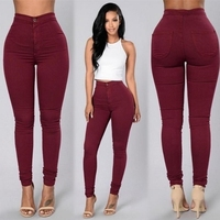 Summer Fashion Hot Sales Female Denim Thin Stretch Candy Colors Slim Casual Pencil Pants Trousers Women