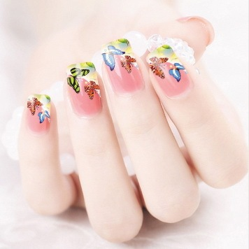 2017 Promotion Rushed Manicure 2 Sheets Watermark Nail Stickers Flowers Row Of Pens Manufacturers Xf1320