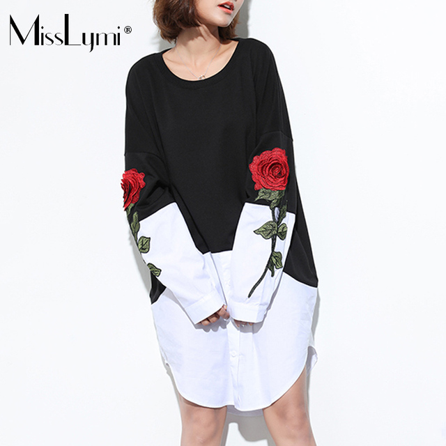 MissLymi S-5XL Plus Size Women Casual Dress 2017 Summer Fashion Rose Flower  Embroidery Long Sleeve Patchwork White Shirt Dress 1554c8a270a8