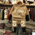 Han edition children's wear private label of new fund of 2016 autumn winters is khaki hooded  two wool fleece suit