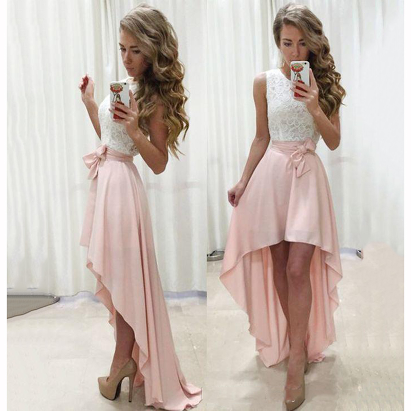 Red And White Formal Dresses: Sexy Front Short Back Long A Line Bridesmaid Dresses 2018