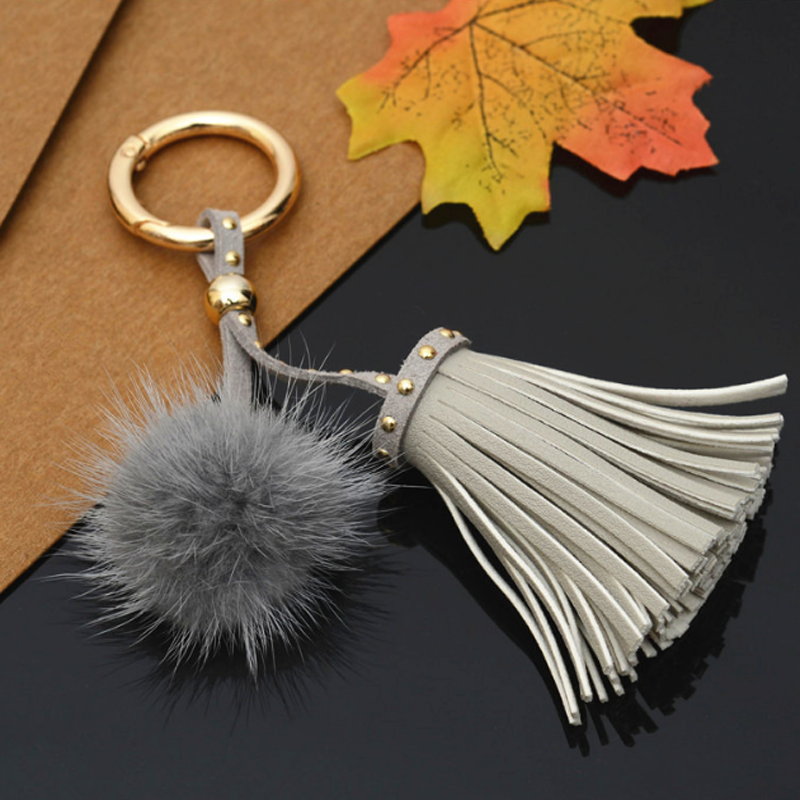 Creative Gifts Fashion Real Mink Fur Ball Keychain Car Keyring Women Ladies Rivet Tassel Bag Pendant Auto Accessories in Key Chains from Jewelry Accessories