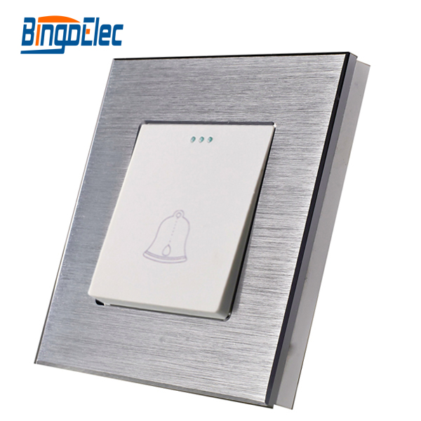 EU/UK 1gang 1way  doorbell aluminum panel switch,AC110-250V,Hot sale suck uk