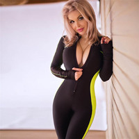 Yoga Sport Sets Women Fitness Clothing Gym Clothes Zipper Jumpsuits Solid Color Sportswear Sexy Jogging Athletic Workout Suit