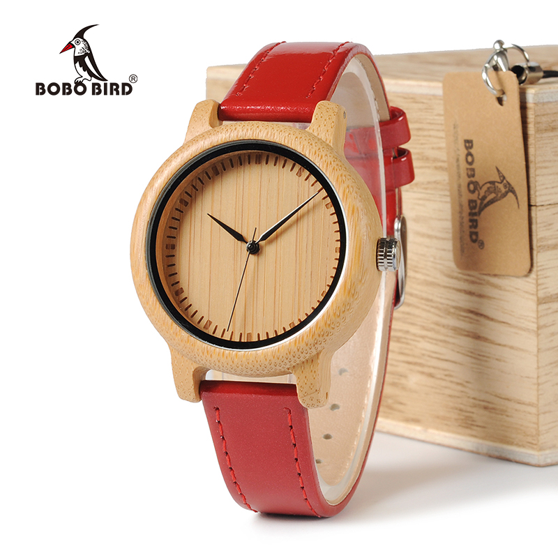 BOBO BIRD WJ09 Simple Style Bamboo Women Watch Bamboo Dial Genuine Red PU Leather Band Quartz Watches Relojes Mujer Accept OEM