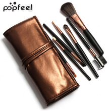 Popfeel 7 Pcs Cosmetic Blush Eyebrow Eyeshadow Brushes Makeup Brush Set with Case Bag stylish 18 pcs portable fiber makeup brushes set with pu brush bag