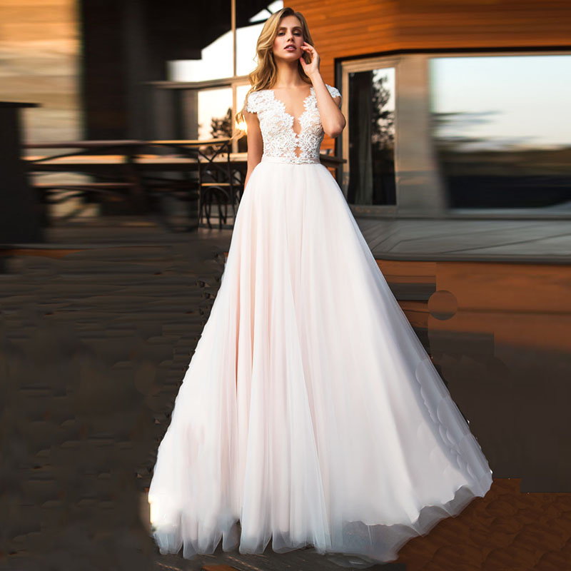Beach Wedding Dress 2018 Cap Sleeve Appliques Lace Tulle A-Line Custom Made  Princess Wedding Gown Plus Size Bridal Dress