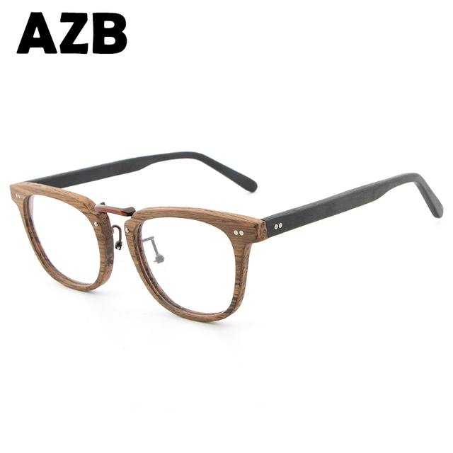 b706d86c308 AZB 2017 new myopia retro fashion glasses frame men s brand wood grain  glasses sunglasses optical frames