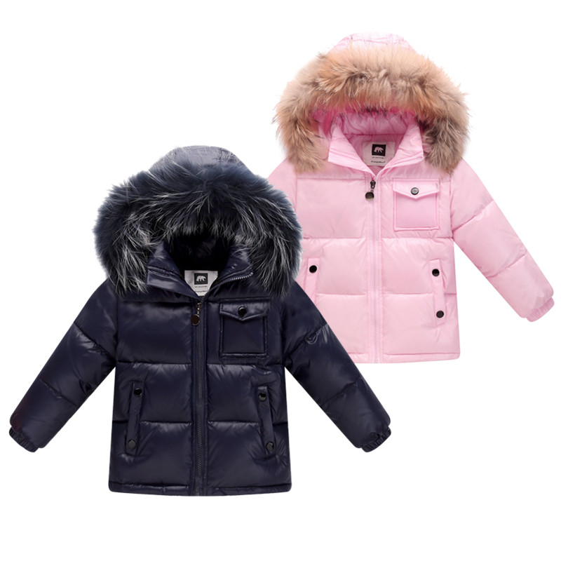 New 2018 winter down jacket for boys 2-8 years children's clothing thicken outerwear & coats with nature fur hooded parka kids 2018 girls clothing warm down jacket for girl clothes 2018 winter thicken parka real fur hooded children outerwear snow coats