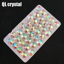 QL Crystal Rivoli Sew On Rhinestones Clear AB Flatback 2 holes round for DIY Clothes bags shoes accessories
