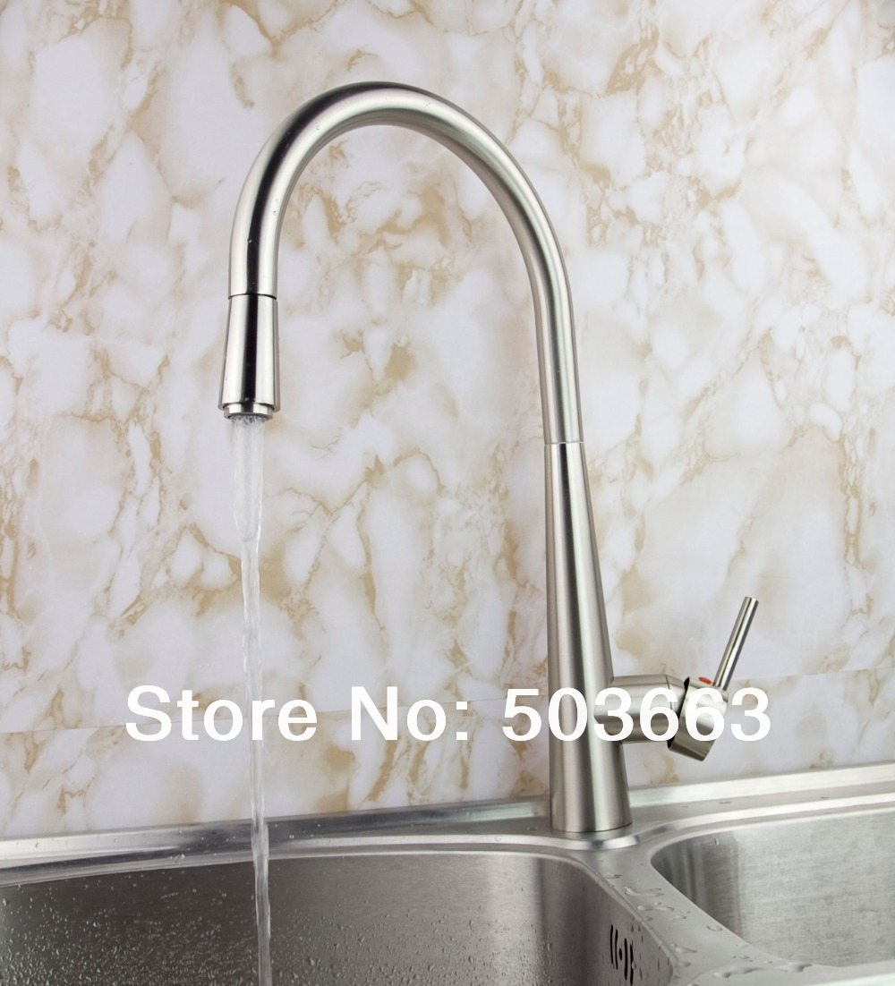 Fashion Pull out Swivel Brushed Nickel Brass Kitchen Faucet Spout Vessel Basin Sink Double Handles Deck Mounted Mixer Tap MF-454 brushed nickel double handles spray stream brass water kitchen swivel spout pull out vessel sink deck mounted mixer tap faucet