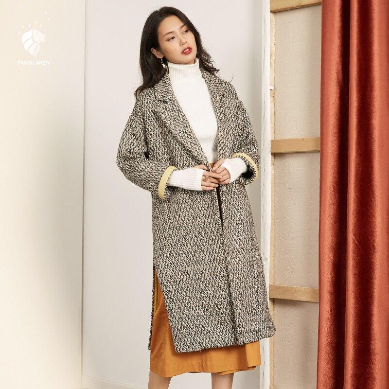 FANSILANEN 2017 Nouvelle Arrivée De Mode Automne/Hiver Lâche Vintage Coton Casual Manteau Long Femmes Femelle Pardessus Z73143