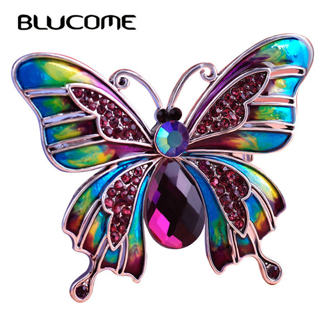 Blucome Vintage Purple Crystal Butterfly Brooch Hijab Pins Blue Green Enamel  Animal Brooches For Dress Scarf