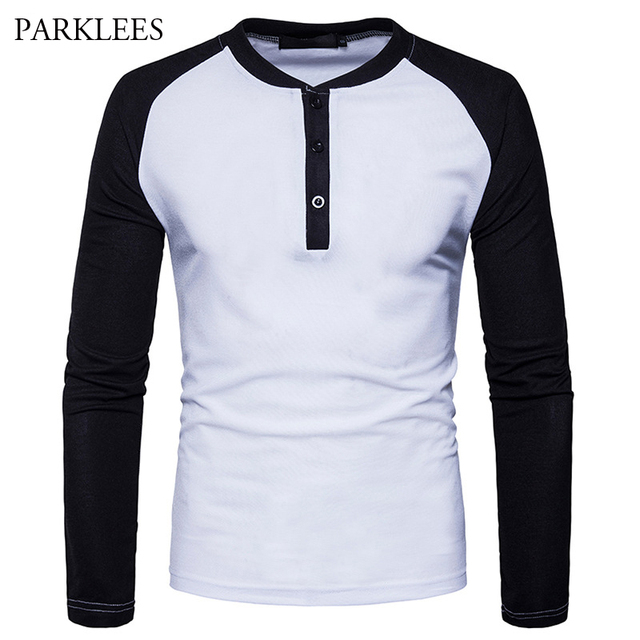 28ab6a01c5a Raglan Sleeve T Shirt Men Brand New Mens Long Sleeve Henley T Shirts Tee  Shirt Homme Casual Contrast Color Hip Hop Male T-shirt