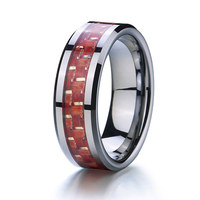 Classic Two Tone White And Red Wood Carbon Fiber Inlay Wedding Band Tungsten Carbide Rings For