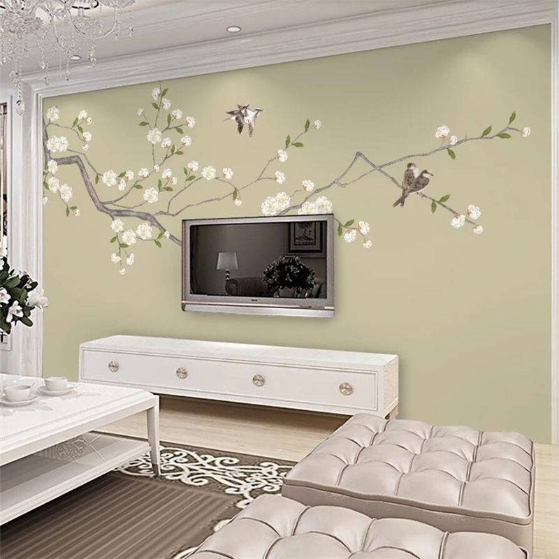 Beibehang Custom Wallpaper 3d Murals New Chinese Hand-painted Flowers And Birds TV Background Wall Decorative Painting Wallpaper