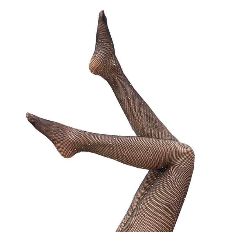 ladyhouse Store Sexy Wear Mesh Socks Hole Open Crotch Net Sequins Siamese Black