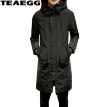 TEAEGG Mid Long Black Warm Winter Jackets Men Coat Hooded Mens Jackets And Coats 2017 Thick Cotton Parkas Hombre Invierno AL613