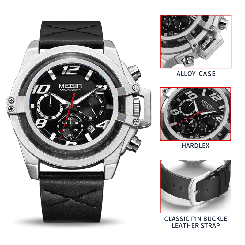 MEGIR Mens Watches Top Brand Luxury Leather Casual Quartz Watch Men Military Sport Waterproof Clock Male Watch Relogio Masculino megir mens watches top brand luxury casual fashion quartz watch sport wristwatch mens leather strap male clock relogio masculino