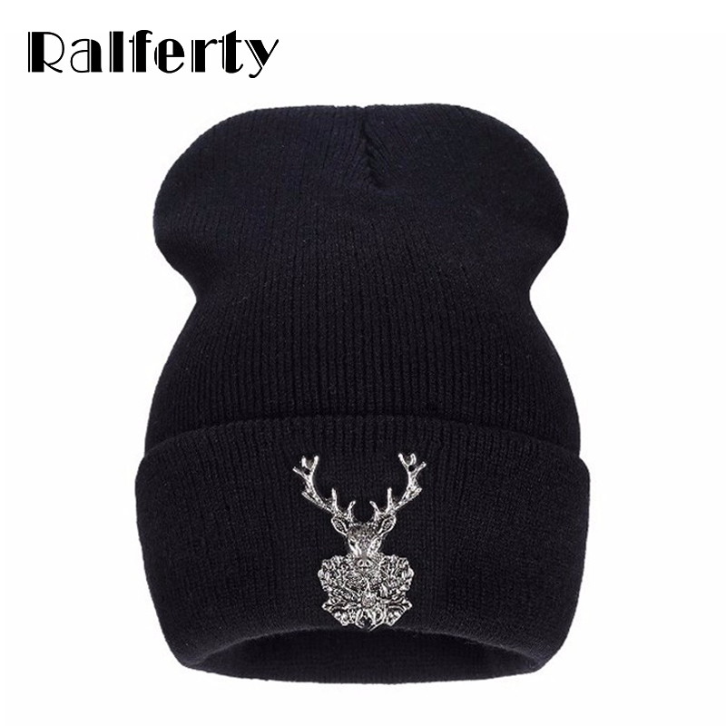Ralferty 2017 New Knitting Winter Acrylic Brand Skullies Beanies Hip Hop Warm Hats Metal Fawn Decorate Caps For Women Christmas