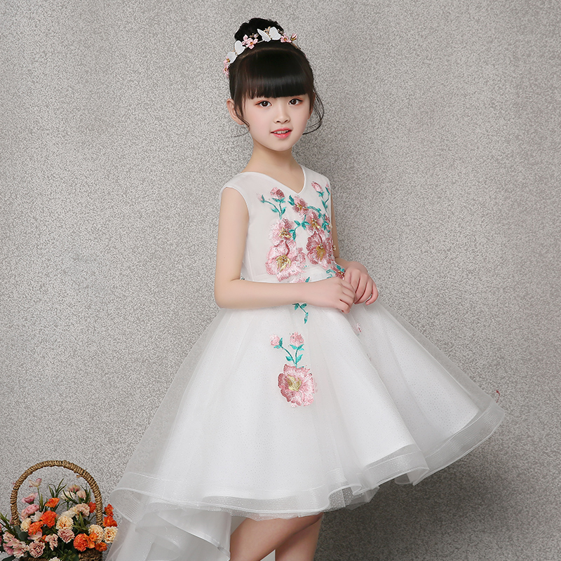 Embroidery First Communion Dresses Lovely Girl's Princess Dress White Flower Girl Dress V neck Ball Gown Kids Pageant Gown E265