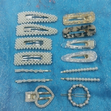 цена 14 Pcs/set Korea Stytle Girls Pearl Hair Clip Crystal Rhinestone Clamp Hairpin Acrylic Hollow Waterdrop Hair Accessories