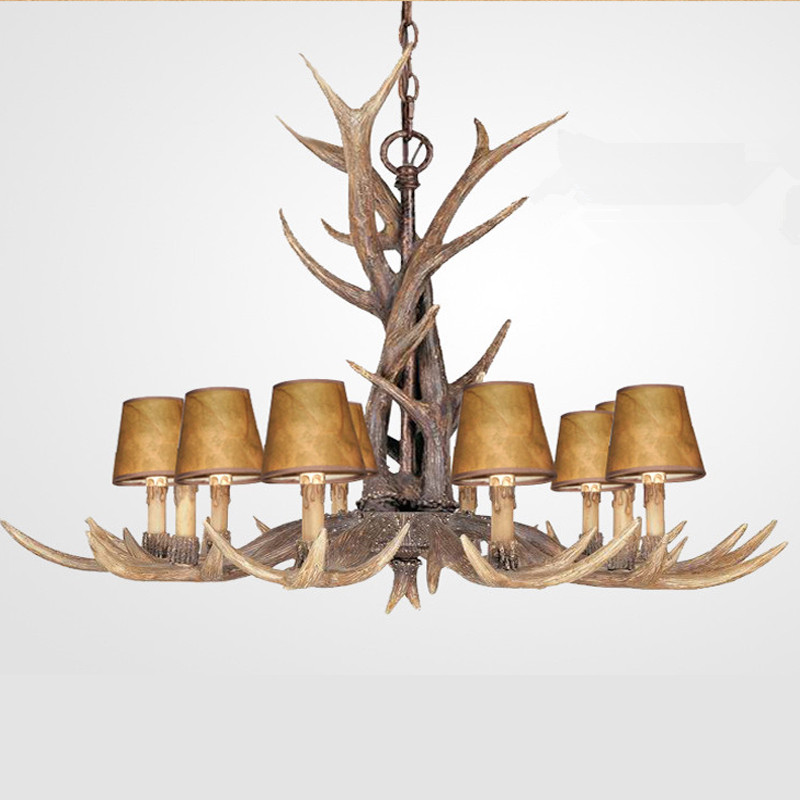 Europe Country 10 Heads Chandelier American Retro Lamp Fixture Resin Deer Horn Antler Lampshade Decoration, E14 110 240V