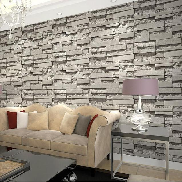 Buy imported south korea designs super 3d for Grey brick wallpaper living room