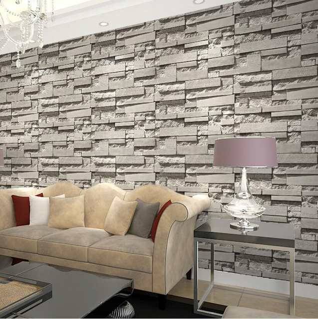 Imported South Korea Designs Super 3d Stone Wallpaper For Pvc Grey