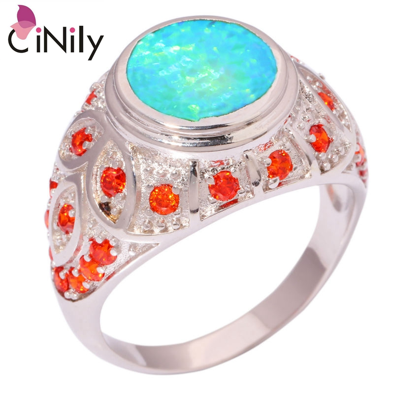 CiNily Created Green Fire Opal Orange Garnet Silver Plated Wholesale Retail Fashion Party for Women Jewelry Ring Size 8 9 OJ8556